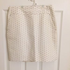 Ann Taylor cream & navy polka dot mini skirt 2p